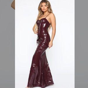 Fashion Nova She Is Dynamite Latex Maxi Dress Wine